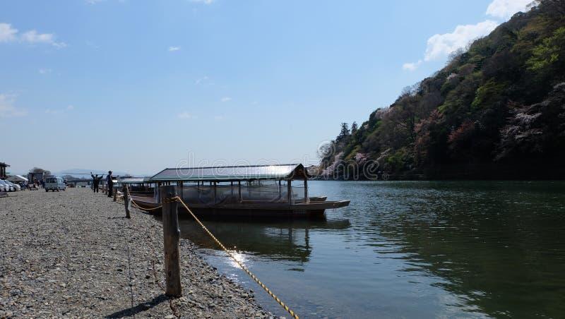 Hozugawa River, near Arashiyama, Kyoto, Japan. Hozugawa River Cruises & x28;保津川下り, Hozugawa Kudari& x29; are sightseeing boat rides stock images