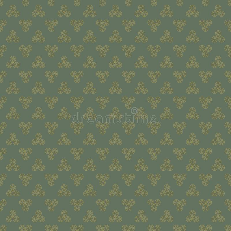 Celtic Triskele Seamless Pattern stock illustration