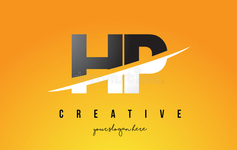 HP H P Letter Modern Logo Design with Yellow Background and Swoosh. royalty free illustration