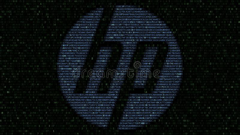 HP Inc. logo made of hexadecimal symbols on computer screen. Editorial 3D rendering. HP Inc. logo made of hexadecimal symbols on computer screen. Editorial 3D royalty free illustration