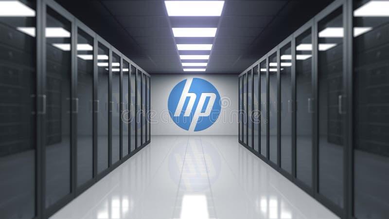 HP Inc logo na ścianie serweru pokój Redakcyjny 3D rendering ilustracji