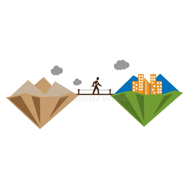 Illustration of people going from village to city. find a job. change from poor to rich stock illustration