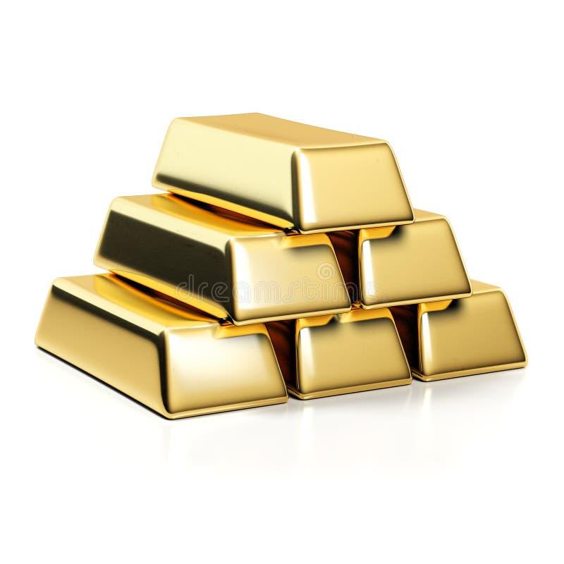 hq золота штанг 3d представляет ультра иллюстрация штока