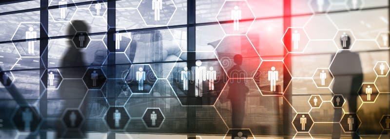 HR、人力资源、补充,组织结构和社会网络概念 免版税库存照片