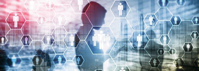 HR, организационная структура человеческих ресурсов, рекрутства, и социальная концепция сети иллюстрация вектора
