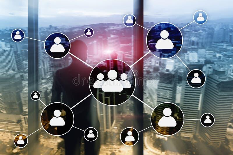 HR -在被弄脏的商业中心背景的人力调配概念 向量例证