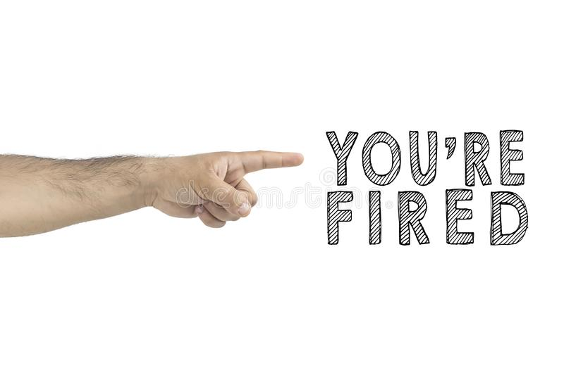 HR, business, concept. You are fired. boss gesturing way out hand sign with index finger. BUSINESSMAN FIRED EMPLOYEE. royalty free stock images