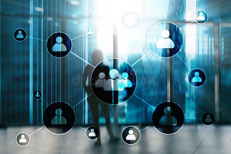 HR - Działu zasobów ludzkich zarządzania pojęcie na zamazanym centrum biznesu tle ilustracji