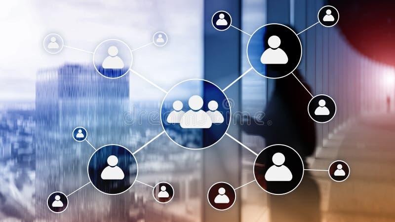 HR - Działu zasobów ludzkich zarządzania pojęcie na zamazanym centrum biznesu tle obraz stock
