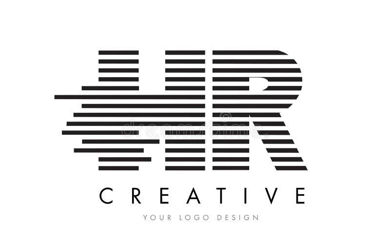HR H R Zebra Letter Logo Design with Black and White Stripes stock illustration
