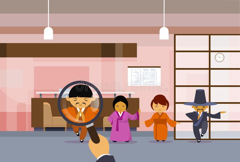 Hr Hand Hold Magnifying Glass Choosing Businessman Over Group Of Chinese Business People In Traditional Clothes Pick. Candidate For Vacancy Position, Human vector illustration