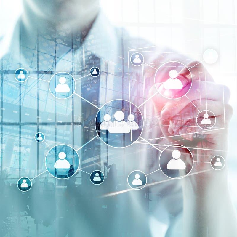 HR - Human resources management concept on blurred business center background. vector illustration