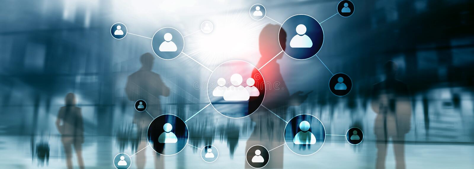 HR - Human resources management concept on blurred business center background. HR - Human resources management concept on blurred business center background stock photo