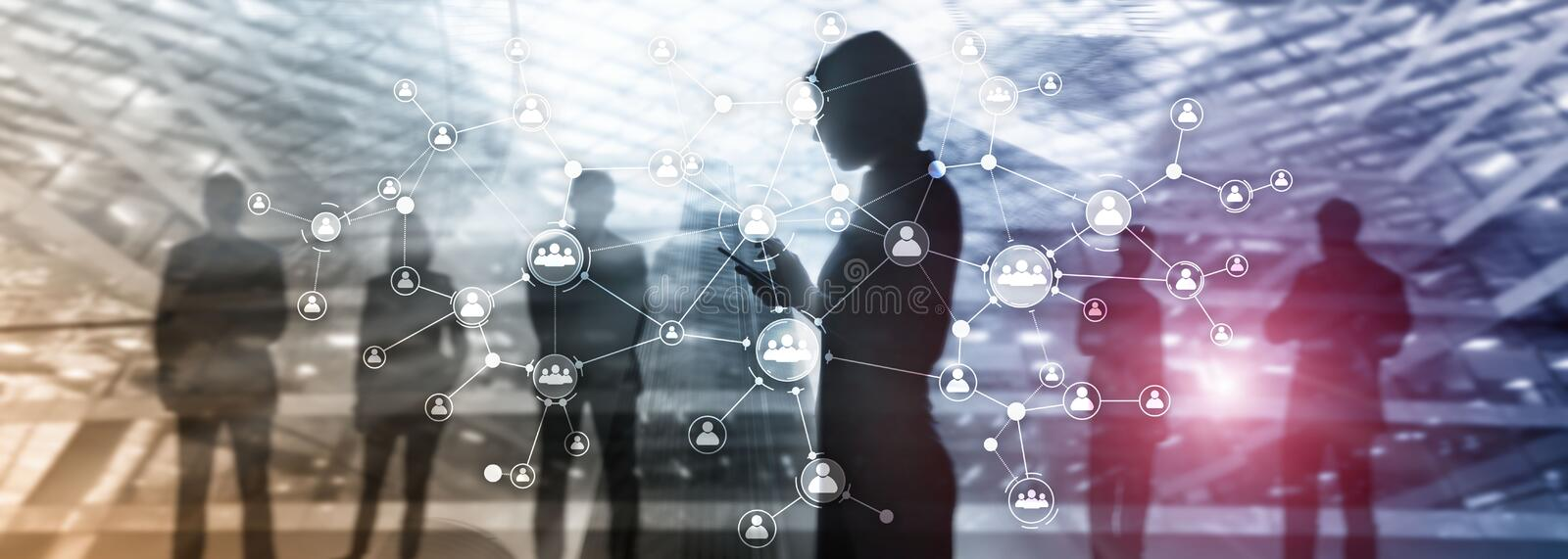 HR human resources management concept corporate organisation structure mixed media double exposure virtual screen. vector illustration
