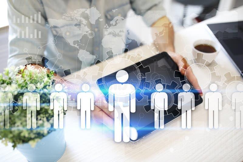HR Human resources management. Recruitment, Hiring, Team Building. Organisation structure. stock illustration