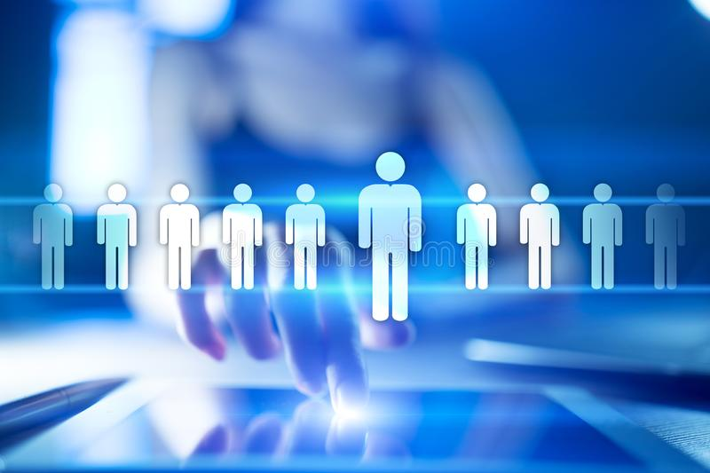HR Human resources management. Recruitment, Hiring, Team Building. Organisation structure. vector illustration