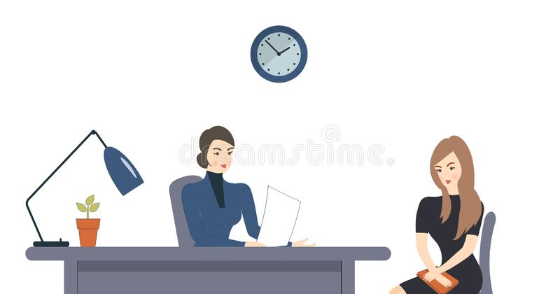 HR, interview, talking with a job applicant. Female recruiter holds a corporate meeting with young woman as a candidate to be. Hired, ask. Office interior royalty free illustration