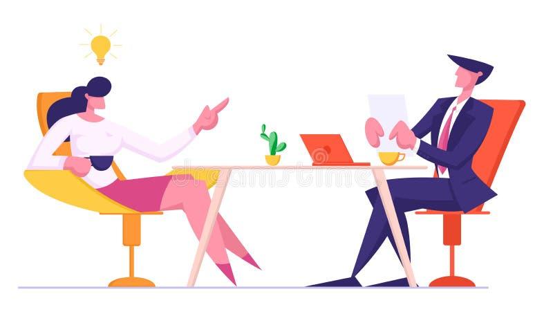 Hr kierownika mienia kandydata życiorys w rękach Wita wnioskodawcy przy Akcydensowym wywiadem kobieta zrelaksowana ilustracja wektor