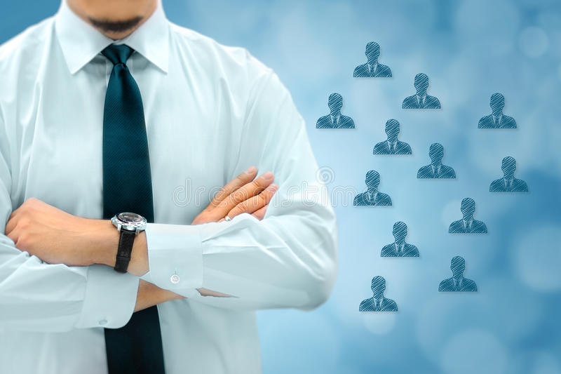 HR managementor marketing customer segmentation concept. Businessman silhouette in bacground. Manager thinks about eemployees or stock images