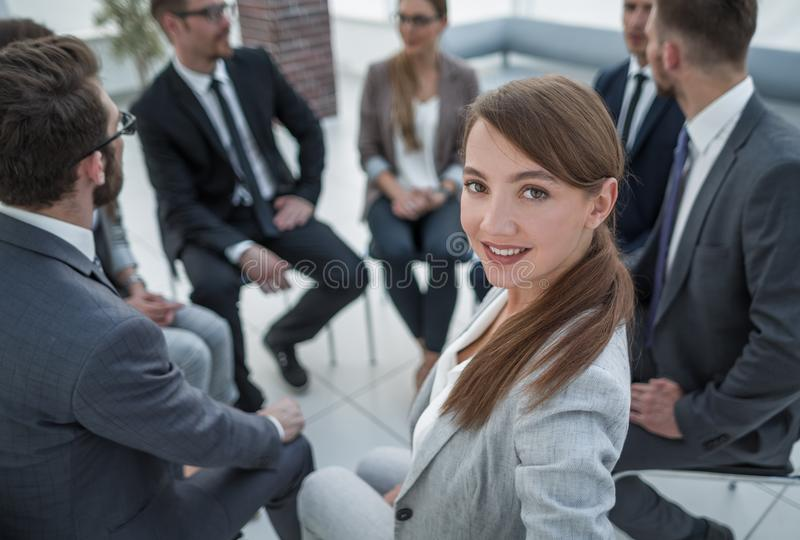 HR Manager on the background of the business team stock photo