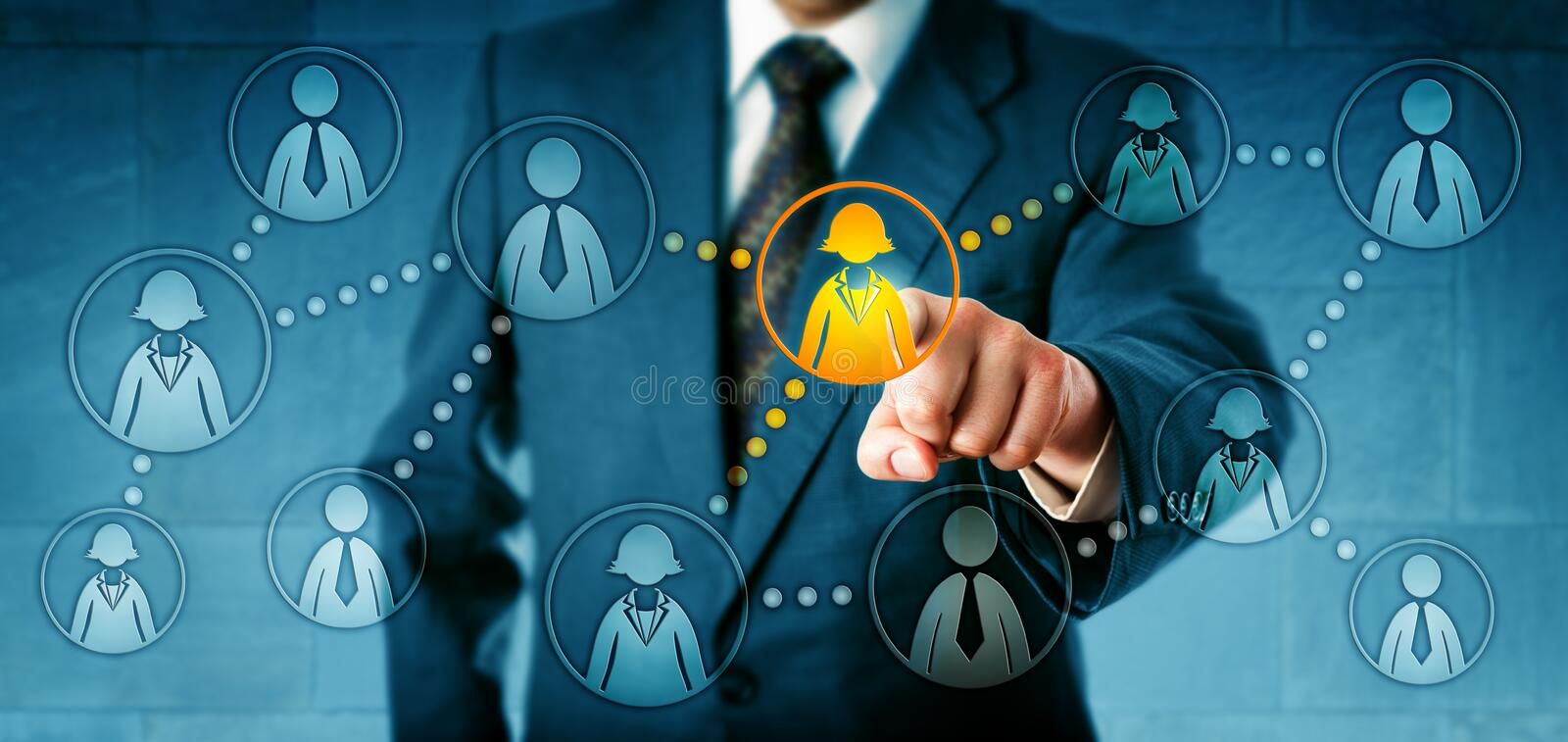 HR Manager Headhunting In Social Network. Human resources manager selecting one female white collar worker icon among many employee symbols. Concept for stock photo