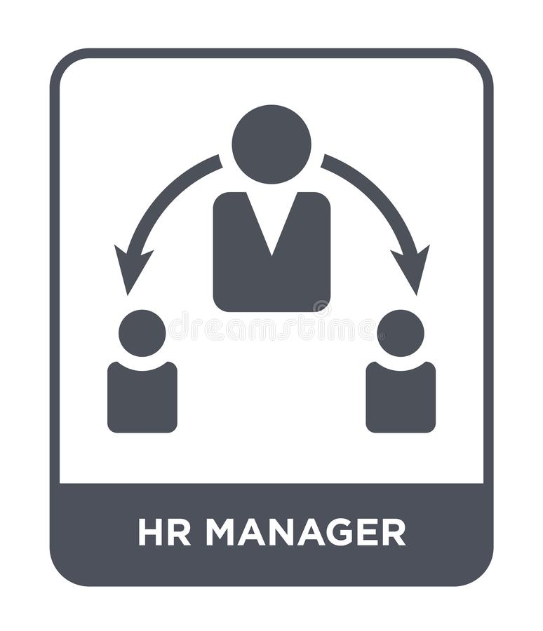 Hr manager icon in trendy design style. hr manager icon isolated on white background. hr manager vector icon simple and modern. Flat symbol for web site, mobile royalty free illustration