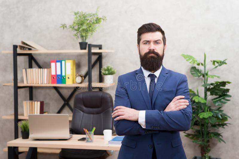 HR manager. Man bearded manager recruiter in office. Recruiter career. Human resources. Hiring concept. Recruitment. Department. Job interview. Welcome team royalty free stock photography