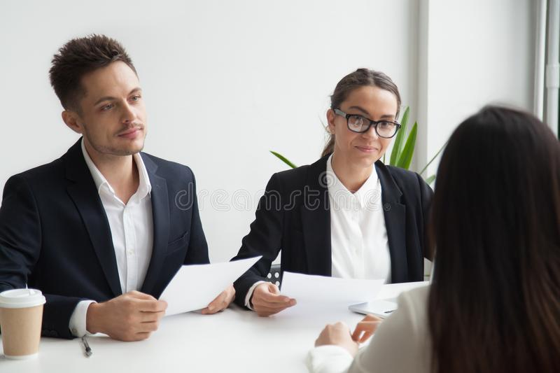 HR managers listening to applicant during interview royalty free stock photos