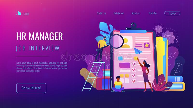 Job interview concept landing page. HR managers looking at curriculum vitae of job seeker as a concept of job interview, working experience, recruitment, job stock illustration