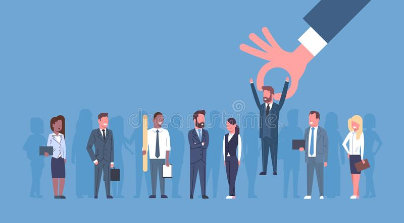 Hr ręka - podnosi biznesmena grupa ludzie biznesu kandydat rekrutaci pojęcia ilustracja wektor