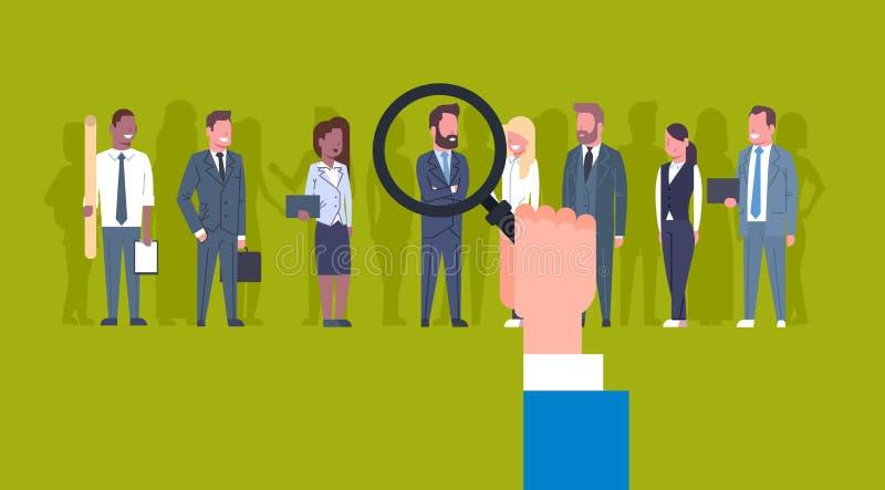 Hr ręki mienia Powiększać - szklany wyboru biznesmen grupa ludzie biznesu kandydat rekrutaci pojęcia royalty ilustracja