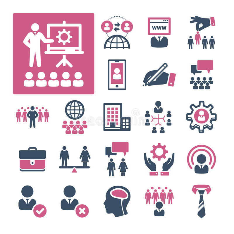 HR, Recruitment and Management (Part 3). A selection of icons related to HR, Recruitment and Management stock illustration