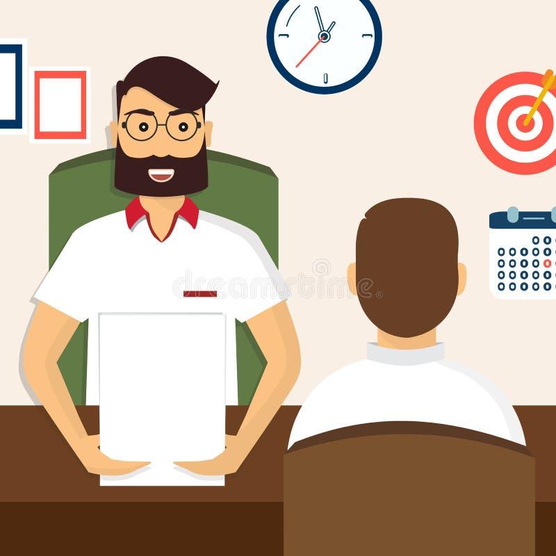 HR rekrutacja Wywiad z kandydat pozycjami szachrajka ilustracja wektor