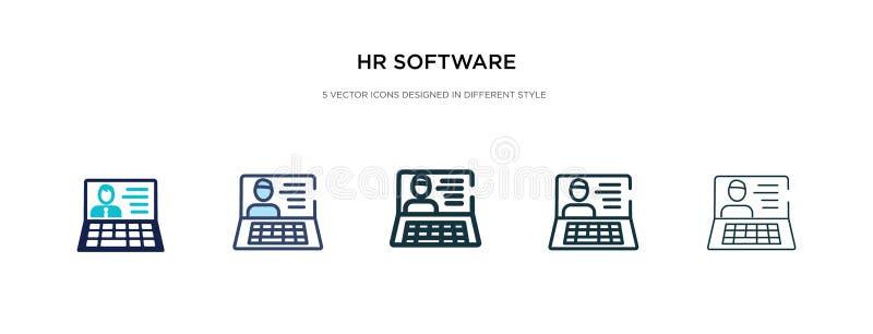 Hr-Software-Symbol in einer anderen Stil-Vektorgrafik zwei farbige und schwarze hr-Software-Vektor-Icons, die in gefüllt entworfe stock abbildung