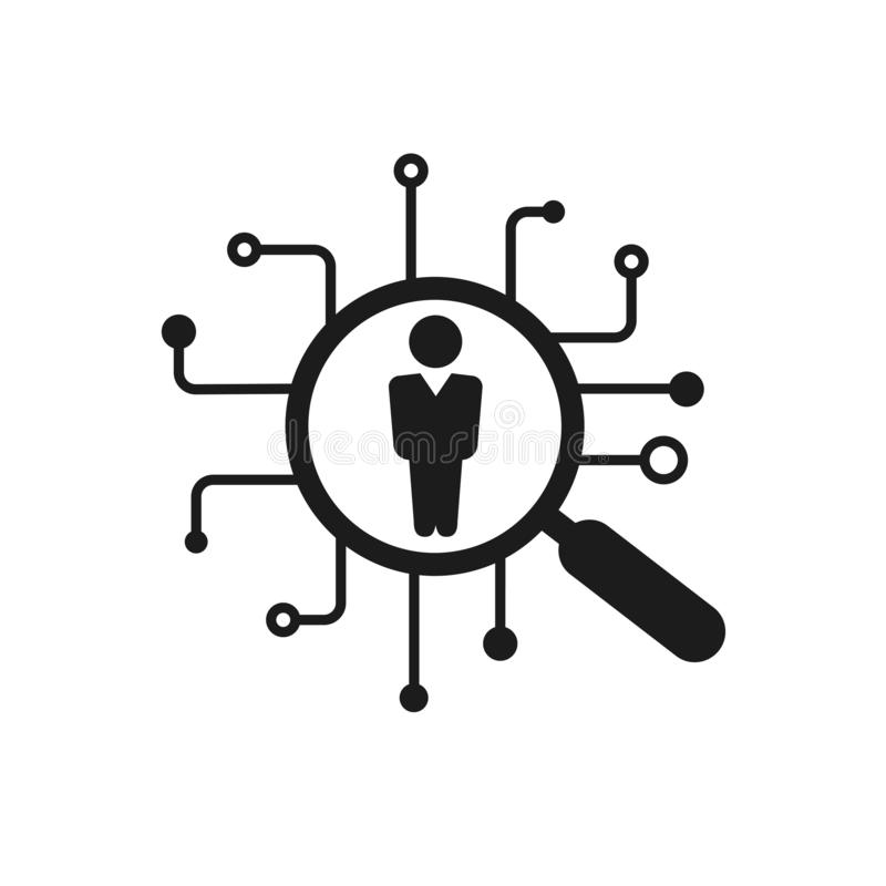 Hr solutions, recruitment agency icon, magnifying glass and person, human resources, consider candidate, employment concept, job. Applicant sign – vector royalty free illustration