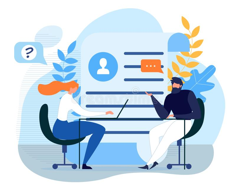 HR Specialist Has Interview with Job Applicant. Employment Process, Choosing Candidate Metaphor Poster. Man and Woman Sitting at Table. Hire and Interviewer stock illustration