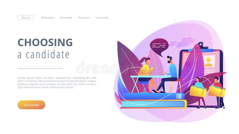 Job interview concept landing page. stock illustration