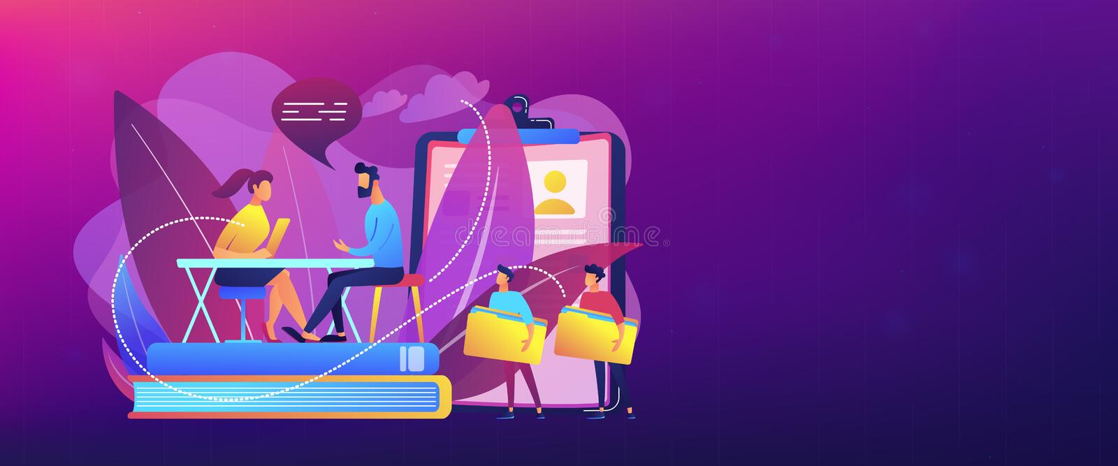 Job interview concept banner header. HR specialist having an interview with job applicant and candiadates waiting. Job interview, employment process, choosing a royalty free illustration
