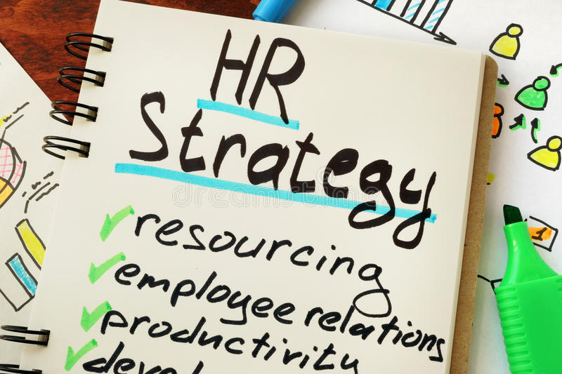 HR strategy. Sign hr strategy on a page of notebook royalty free stock image