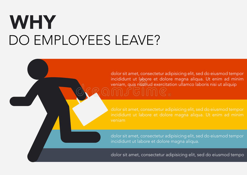HR: Why do employees leave, brain drain info graphics. Business concept vector illustration