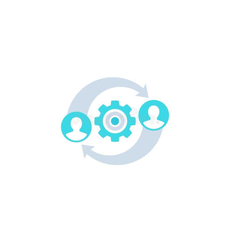 HR, zarządzanie ikona na bielu ilustracji
