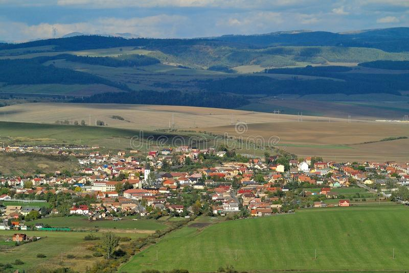 Hrabusice, Spis Region, Slovakia. Slovak village Hrabusice near by Slovak paradise touristic region in eastern Slovakia stock photo