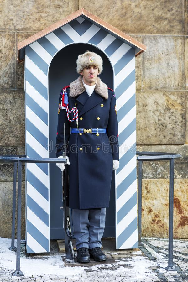 Prague, Czech Republic, Hradcany Castle. Honor guard. stock photo