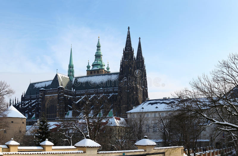 Hradcany with snow. St Vitus cathedral at Prague Castle in winter with snow royalty free stock image
