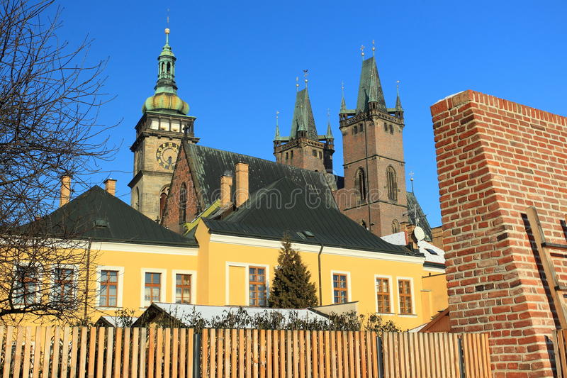 Hradec Kralove. The cathedral of Holy Spirit in Hradec Kralove and White tower in Hradec Kralove, Czech Republic royalty free stock images