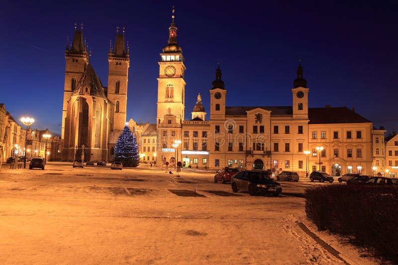 Hradec Kralove. The historic center of Hradec Kralove at sunset, Czech Republic stock photography