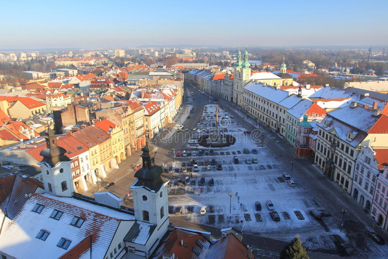 Hradec Kralove. The historic town square seen from the white tower lookout in Hradec Kralovec, Czech Republic royalty free stock images