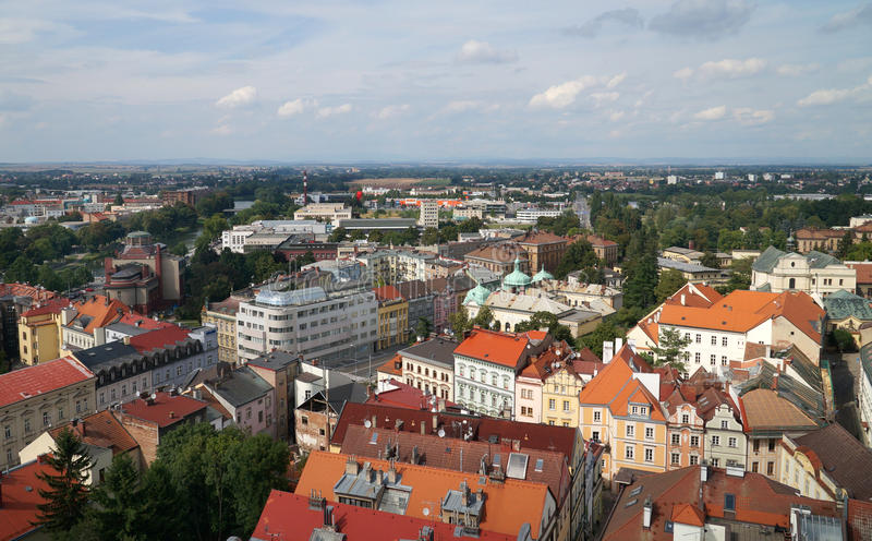 Hradec Kralove. Czech republic -  city from white tower in summer royalty free stock image