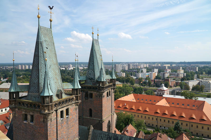 Hradec Kralove. Czech republic -  city from white tower in summer stock photography