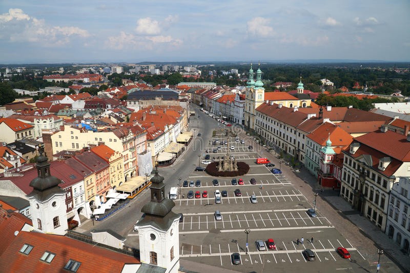 Hradec Kralove. Czech republic -  city from white tower in summer royalty free stock images